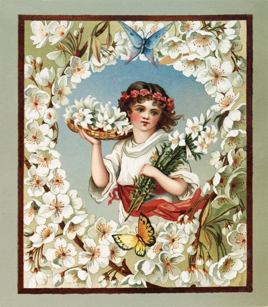 Vintage Sweet Flower Girl with Butterflies Image