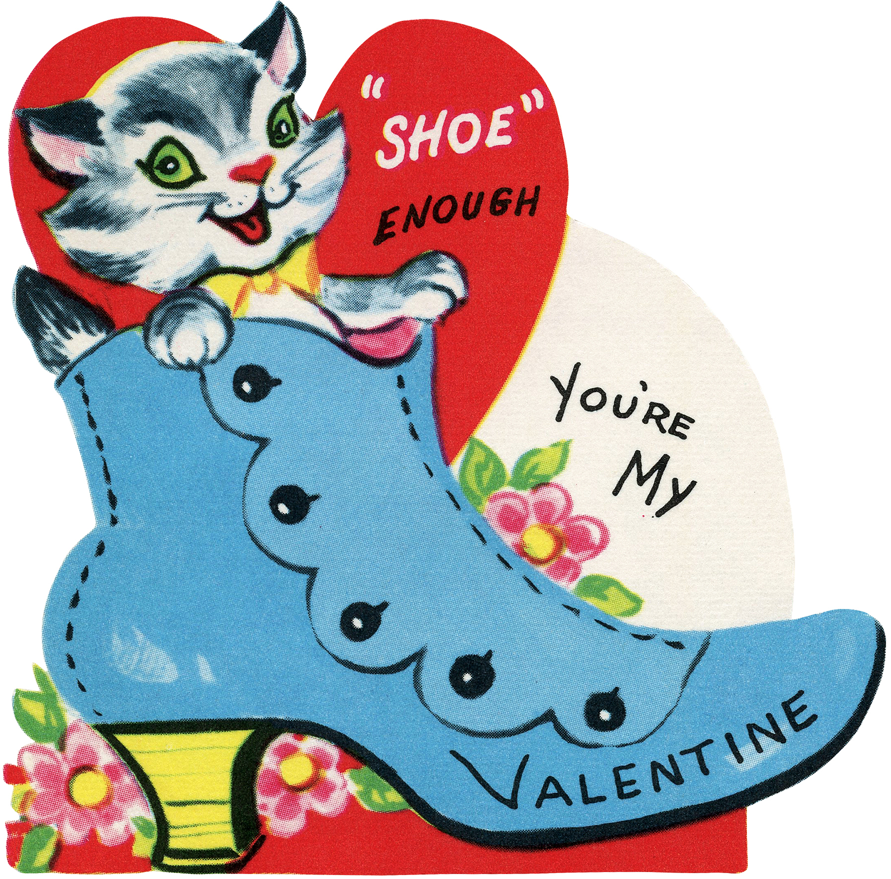 Retro Valentine Cat with Shoe