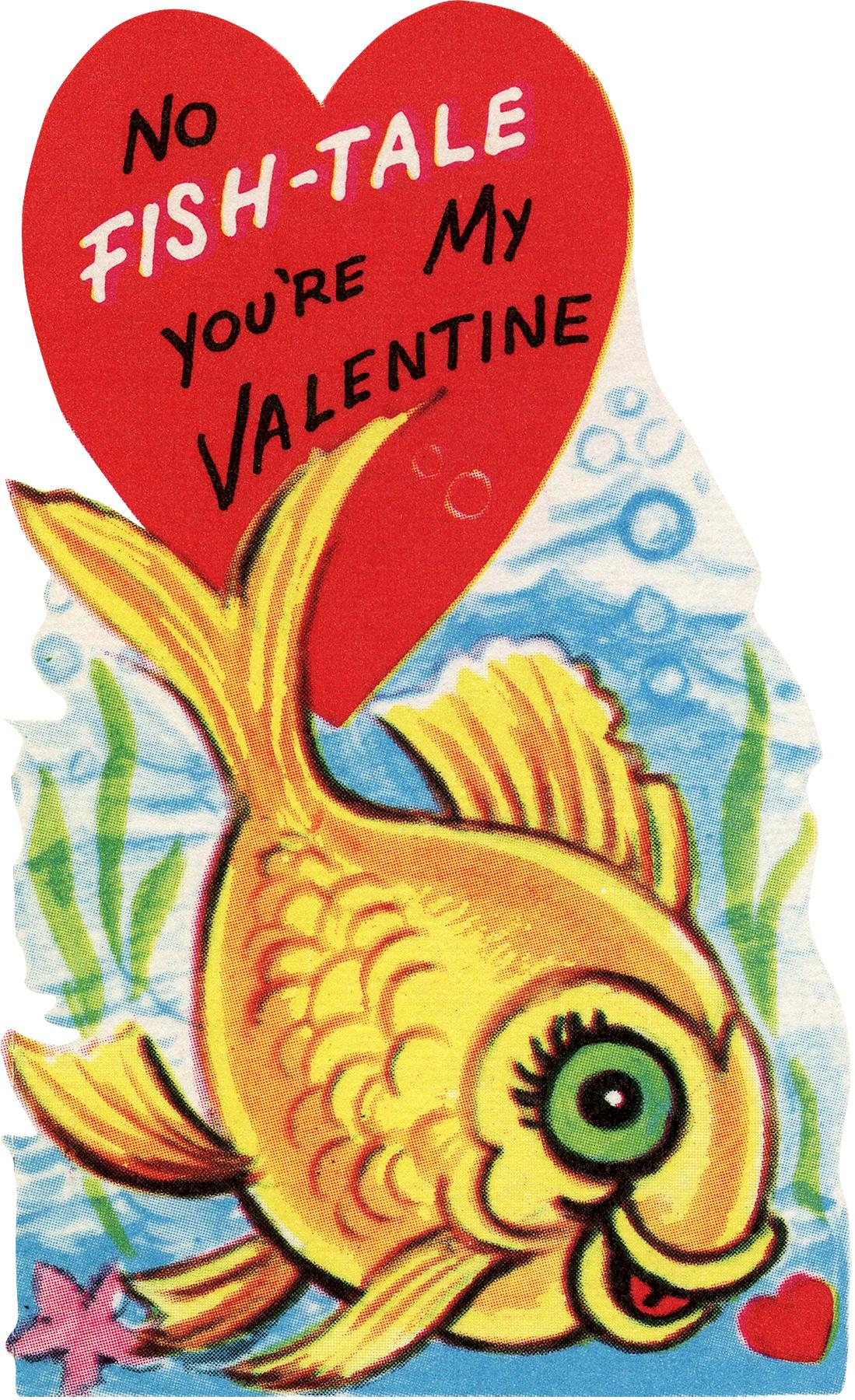 Retro Valentine Goldfish Image