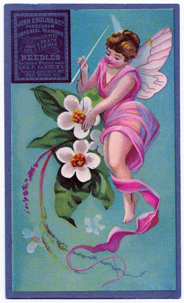 Antique Sewing Card Winged Lady