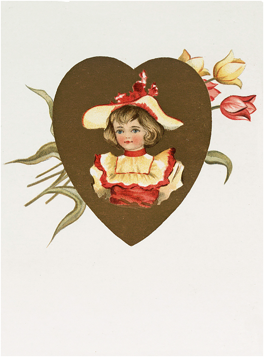 Retro Sweet Girl in a Heart Frame with Tulips Image