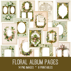Floral Album Pages Images Kit! Graphics Fairy Premium Membership