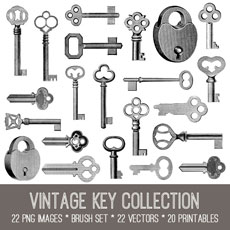 Vintage Key Collection Images Kit! Graphics Fairy Premium Membership