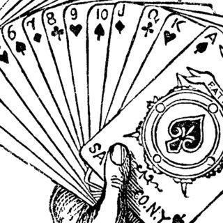 Vintage Joker Hand Holding Playing Cards Engraving!