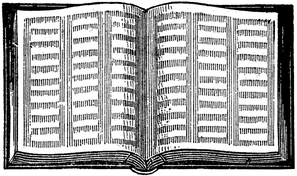Old Large Open Book Engraving Graphic!