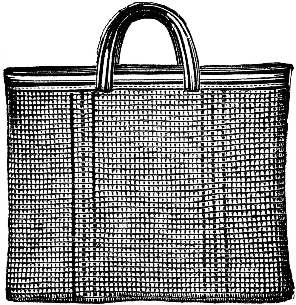 Vintage Large Woven Tote Bag Engraving Graphic!