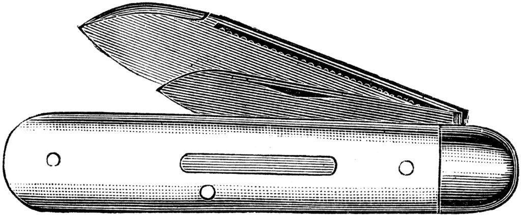 Vintage Small Metal Pocket Knife Engraving Clip Art!