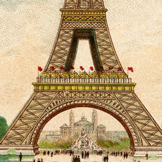 Fantastic Colorful Vintage Eiffel Tower Image!