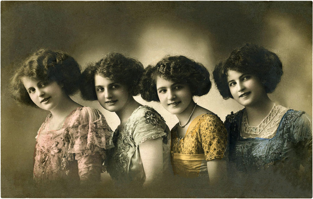 Vintage French Girls in Colorful Lace Hand Painted Photo!