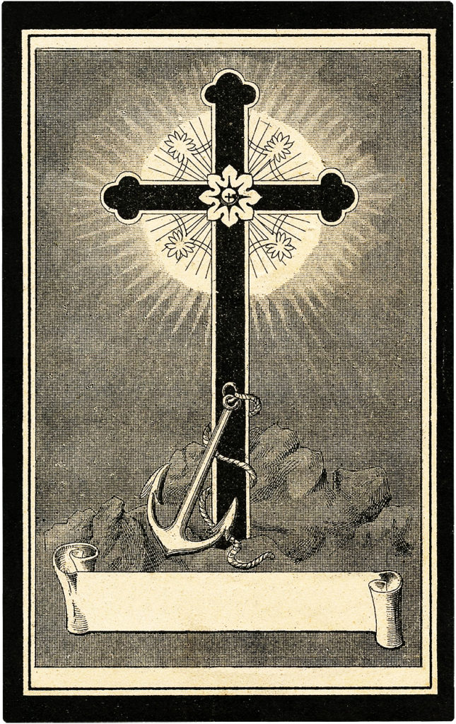 Vintage French Cross and Anchor Lithographed Bookplate!