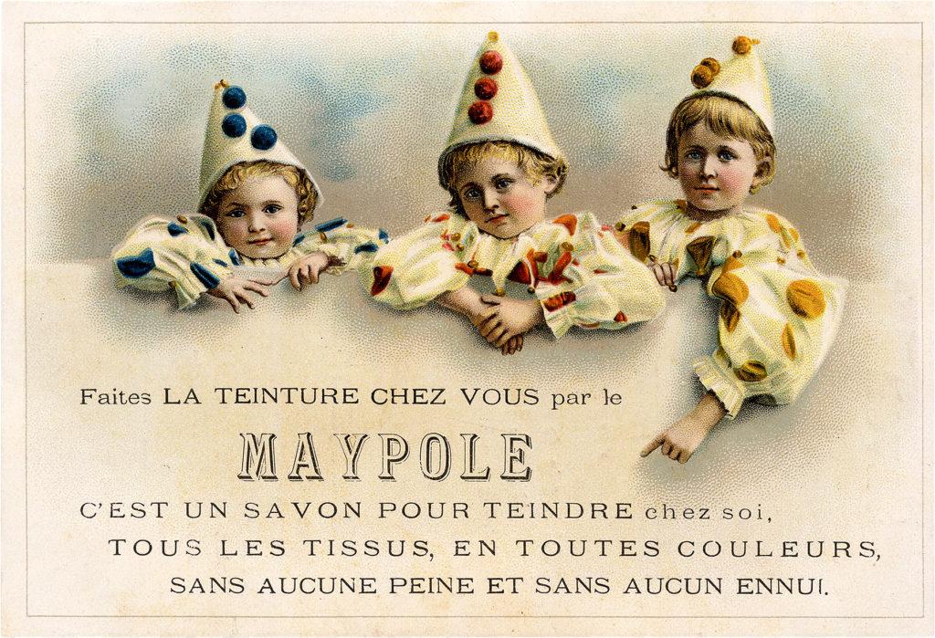 Nostalgic Children Dressed as Pierrot Clowns French Postcard!