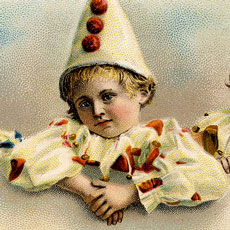 Nostalgic Children Dressed as Pierrot Clowns French Postcard!