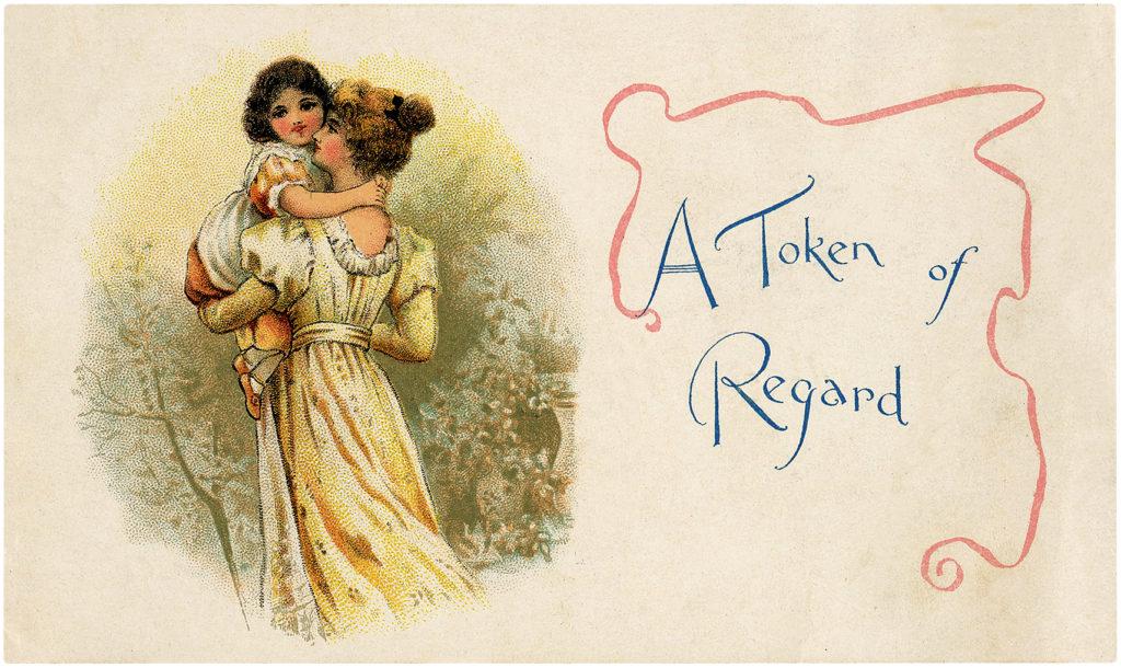 Beautiful Nostalgic Mother Carrying Daughter Postcard!