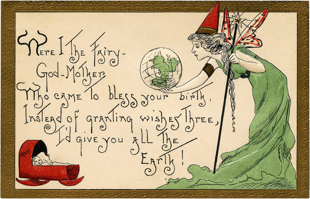 Adorable Vintage Fairy Godmother Birth Blessing Postcard