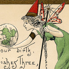 Adorable Vintage Fairy Godmother Birth Blessing Postcard!