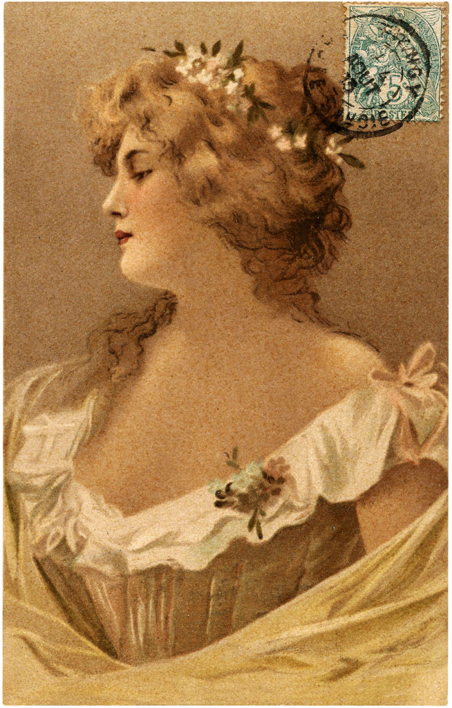 Vintage Alluring Woman Portrait with French Stamp Postcard!