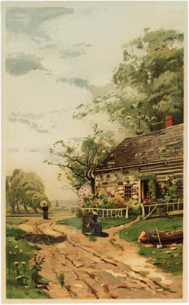 Lovely Vintage Countryside Stone Cottage Image!