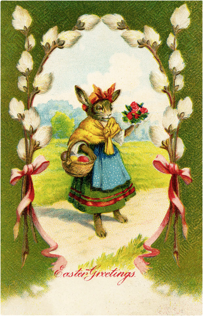 Cute Vintage Easter Rabbit in Pussy Willow Frame Image!