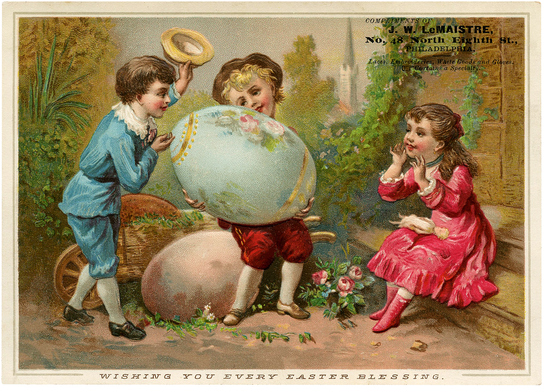Nostalgic Sweet Children with Giant Painted Easter Eggs Postcard!