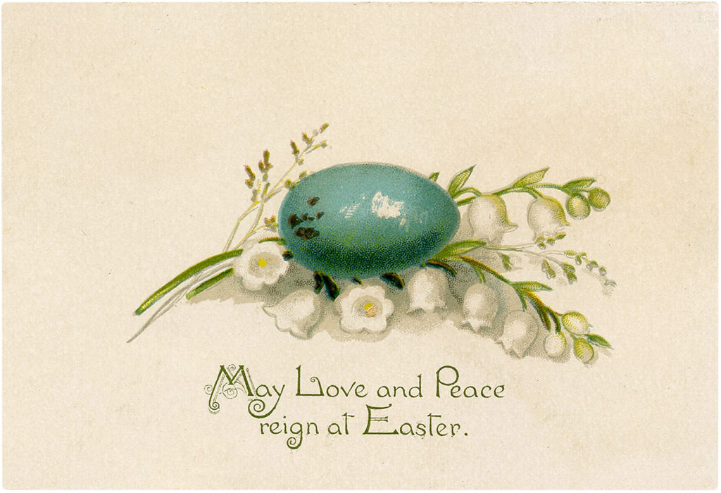 Vintage Blue Speckled Bird Egg Easter Greeting Image!