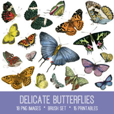 Delicate Butterflies Images Kit! Graphics Fairy Premium Membership