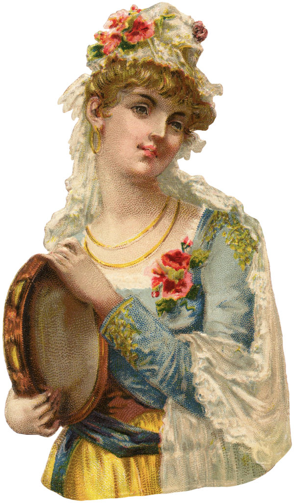 Stunning Victorian Gypsy Woman with Tambourine Image!