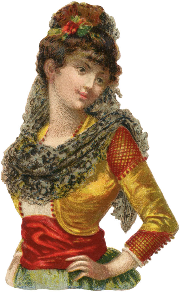 Vintage Woman in Beautiful Spain Costume Image!