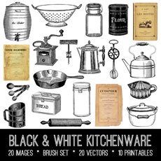 Black & White Kitchenware Images Kit! Graphics Fairy Premium Membership
