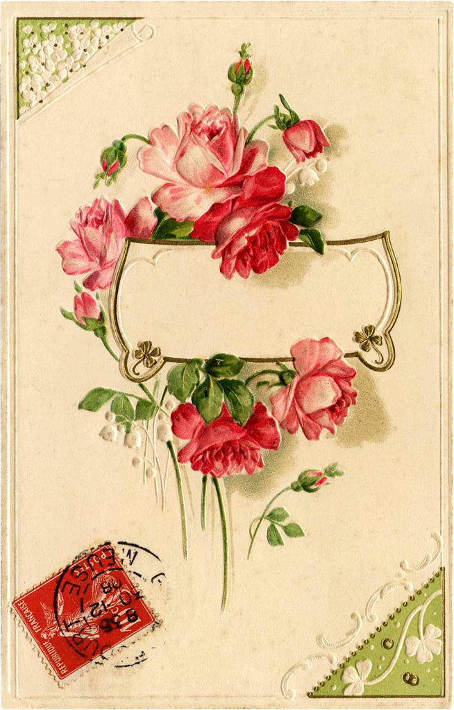 Delightful Vintage Stamped French Pink Rose Postcard!