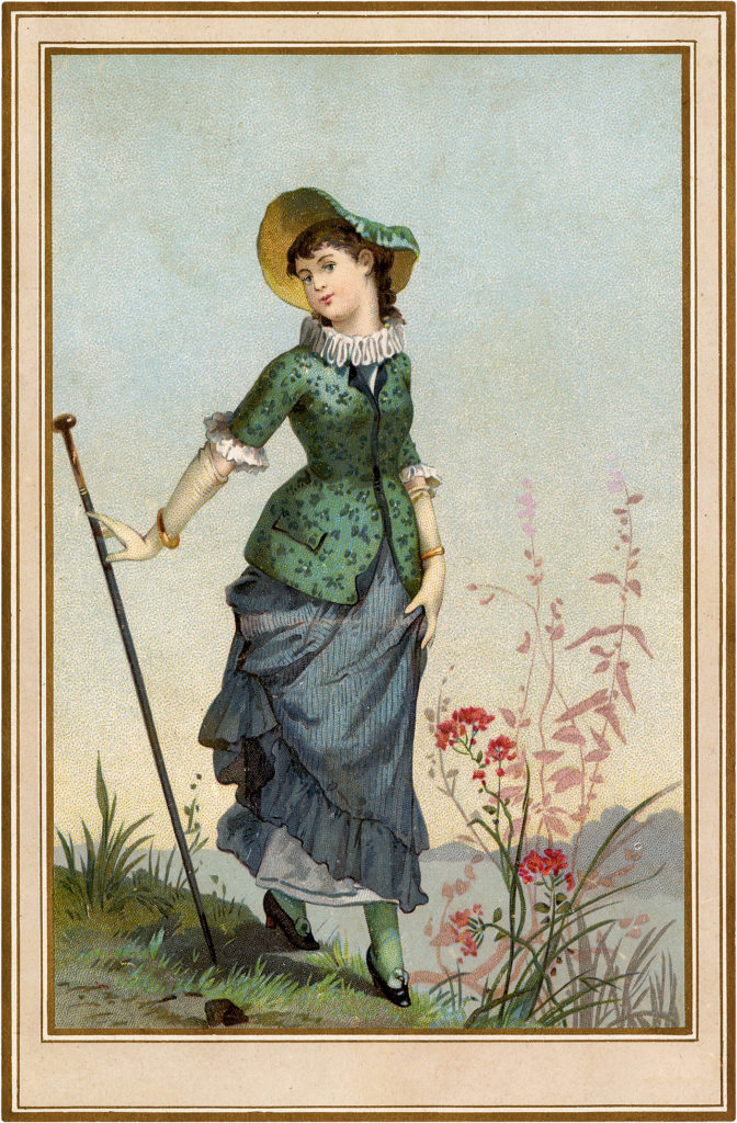 Vintage French Maiden with a Tall Walking Stick Image!