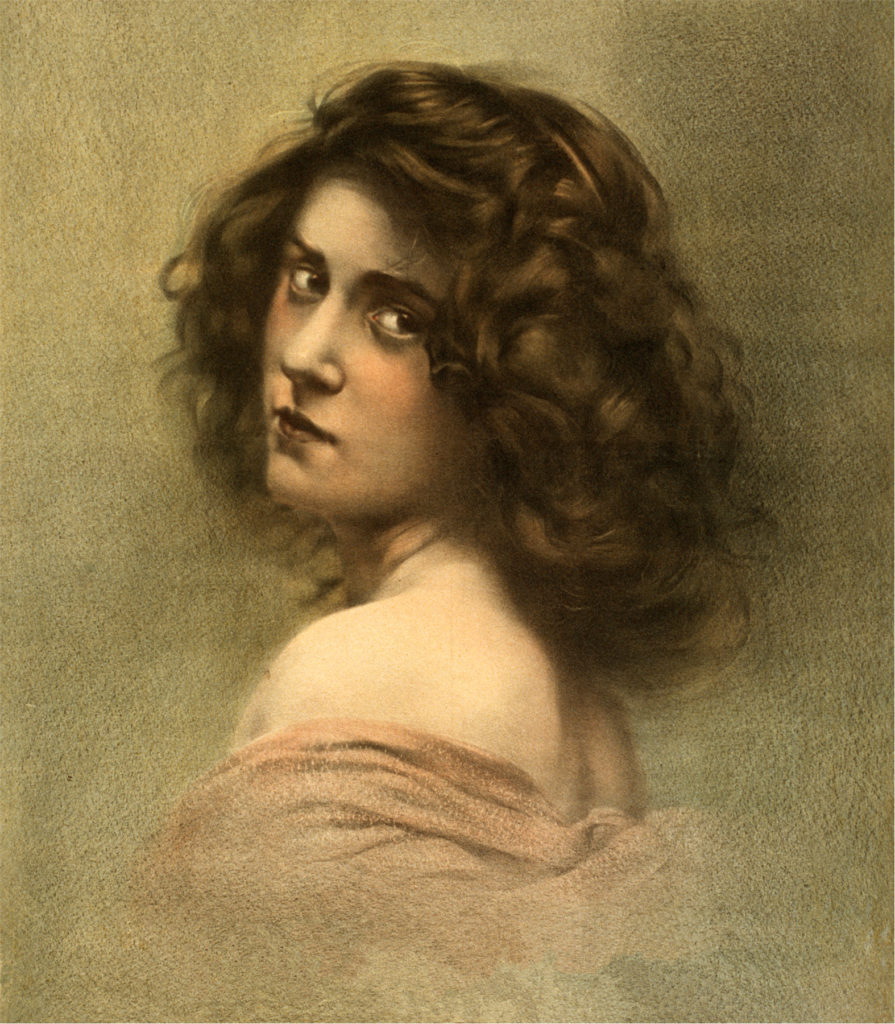 Vintage Lady with Tousled Hair Portrait Image!
