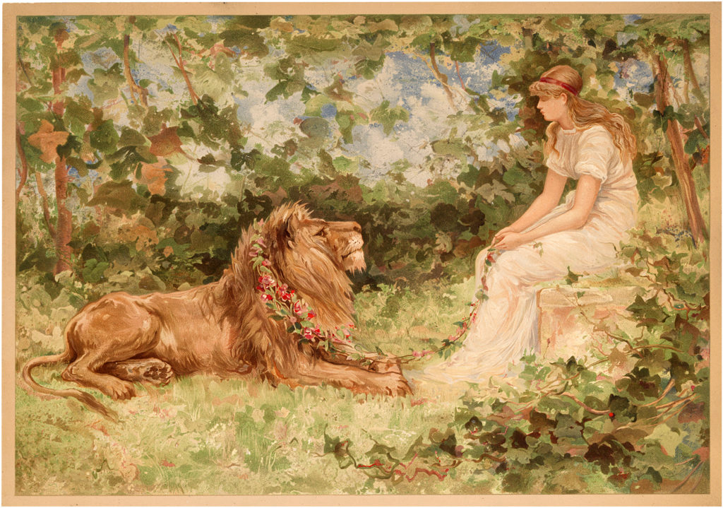 Vintage Girl with Majestic Pet Lion Image!