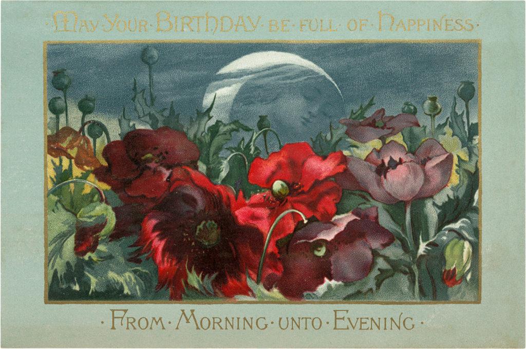 Vintage Floral Birthday Card Image