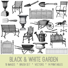 Black and White Garden Images Kit – Graphics Fairy Premium