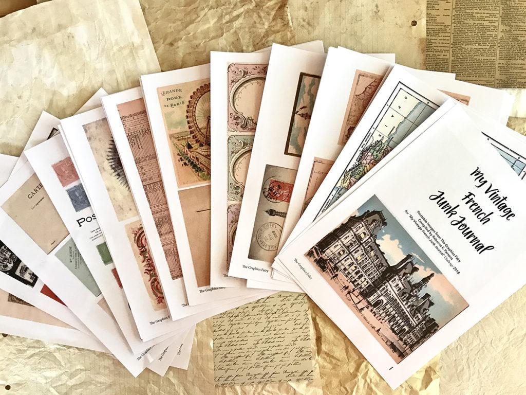 Printable Junk Journal Kit Journal Papers Journal Cards Vintage French Fashion Ephemera
