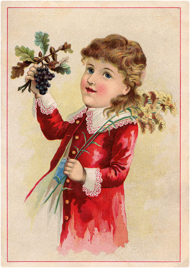 Vintage Child in Red Jacket Holding Grapes Trade Card Graphic!