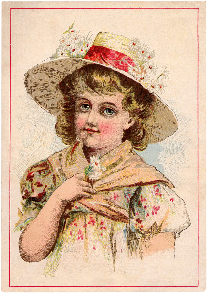 Vintage Adorable Girl in Beautiful Hat Trade Card Image!