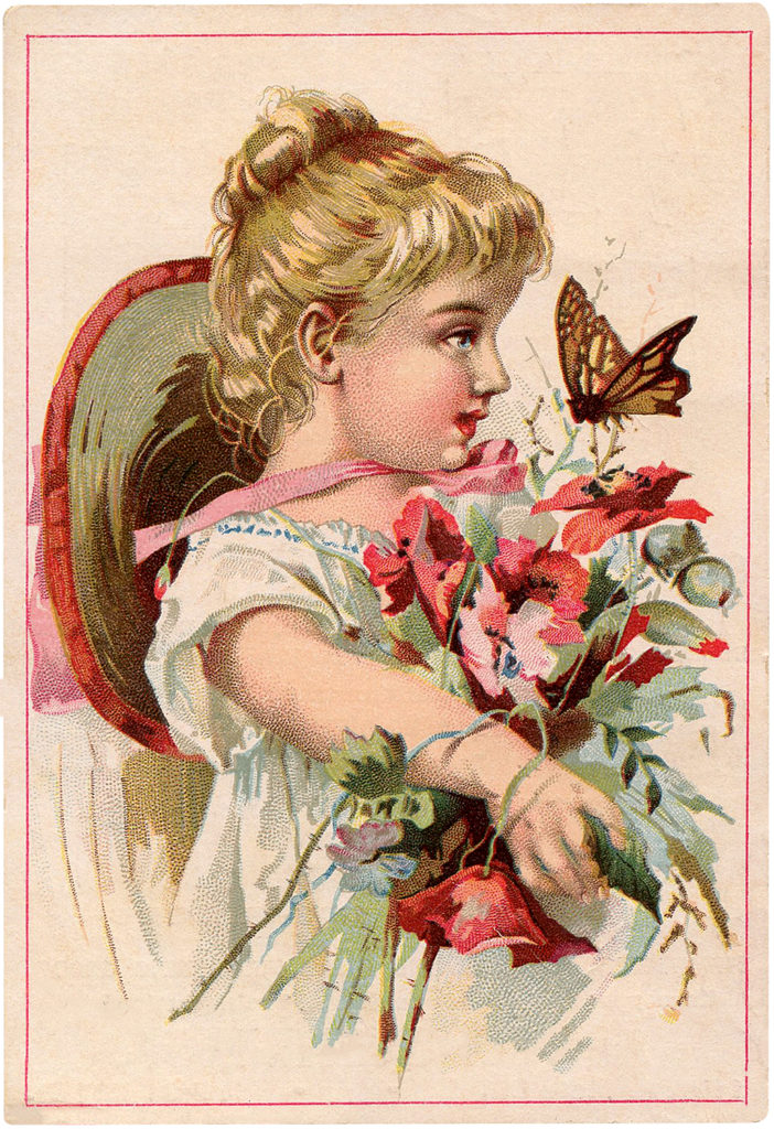 Cute Girl Holding Large Bouquet Vintage Trade Card Graphic!