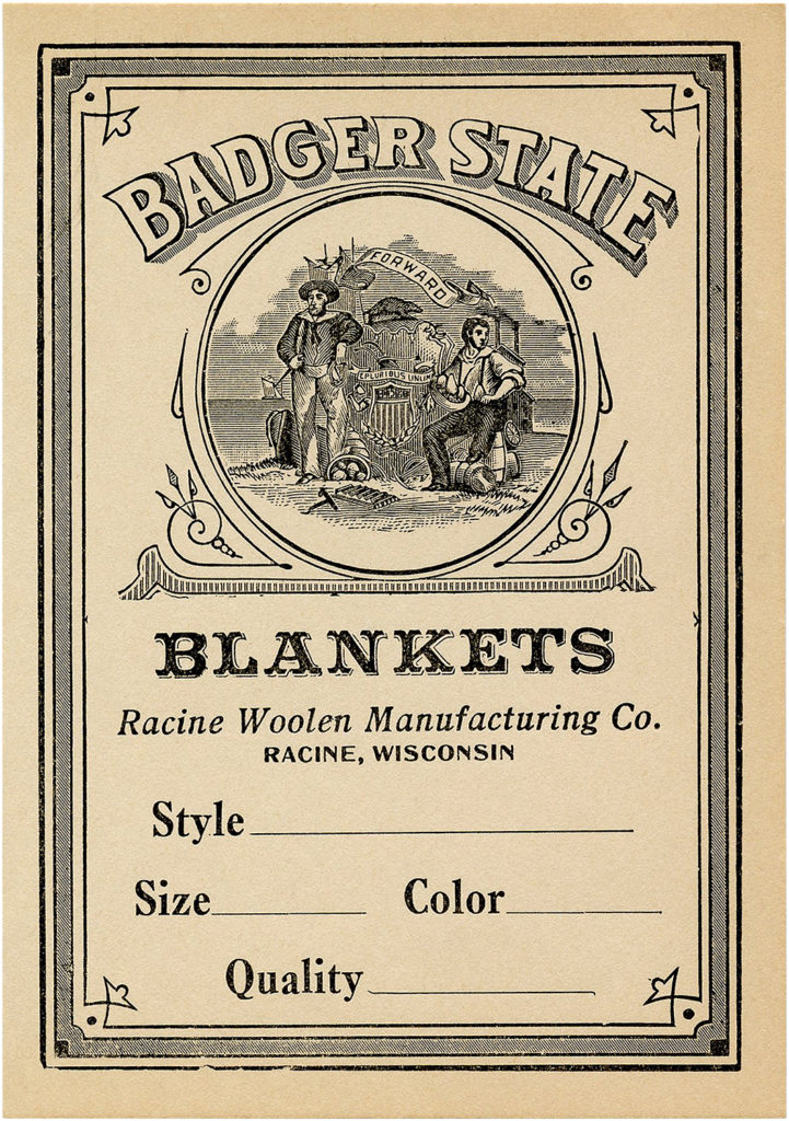 Lovely Retro Ad for Badger State Blankets Image!