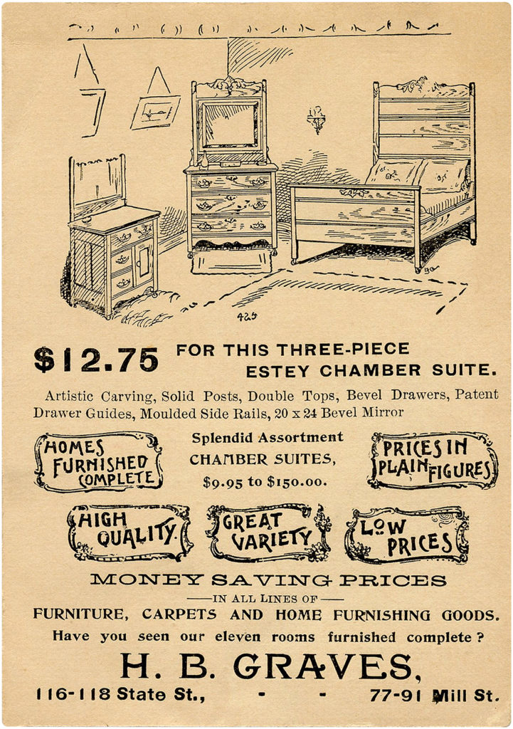Old Trade Card for Three Piece Bedroom Suite Image!