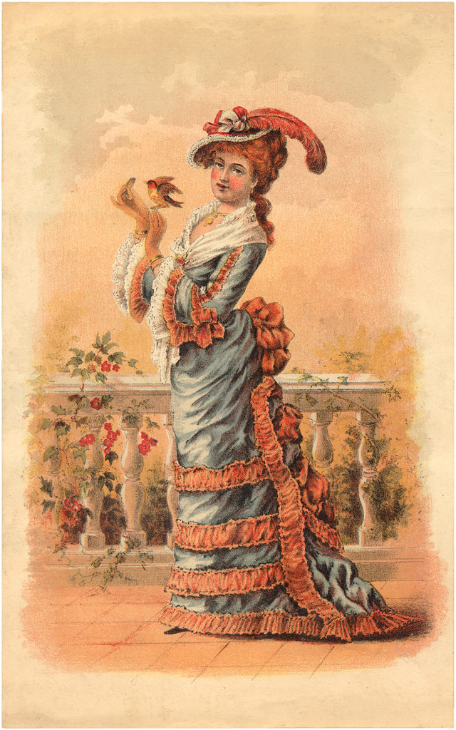 Elegant Victorian Lady Holding Red Bird Image!