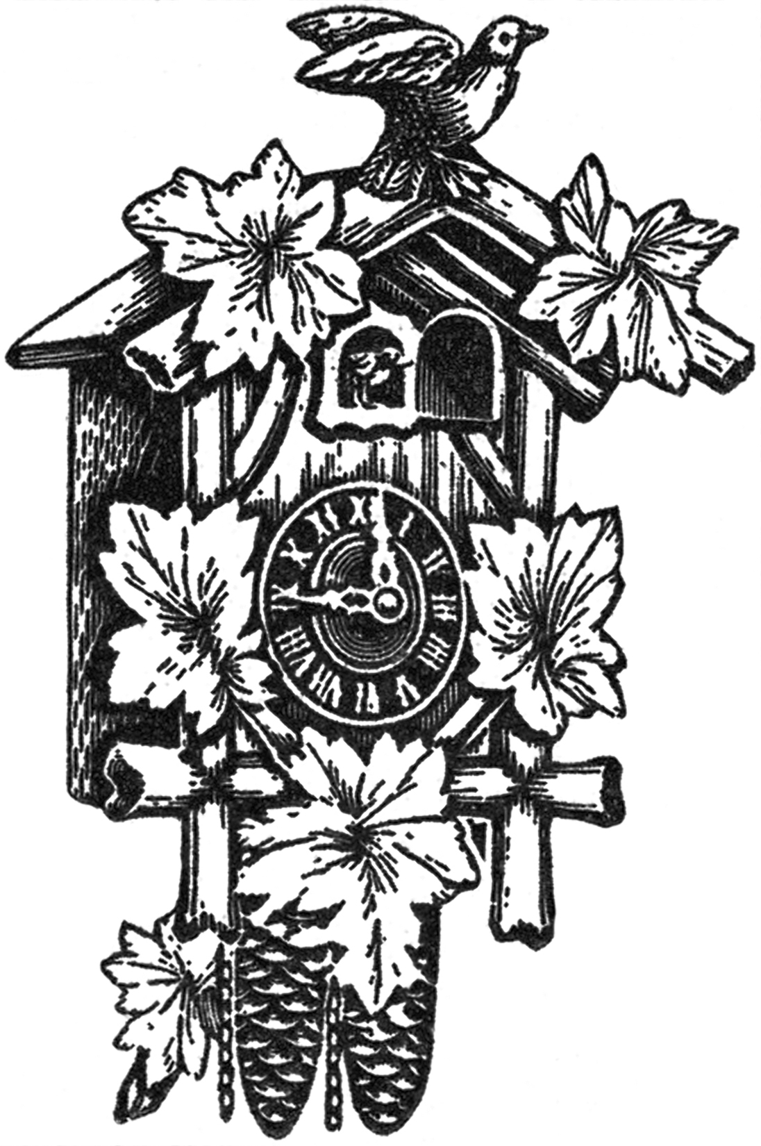 4 Vintage Cuckoo Clock Images - The Graphics Fairy