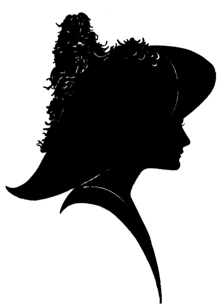 VintageElegant Lady with Feathered Hat Silhouette Image!