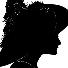 Vintage Elegant Lady with Feathered Hat Silhouette Image!