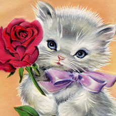 Adorable Retro Kitty with Rose Image- 1940s-1950s