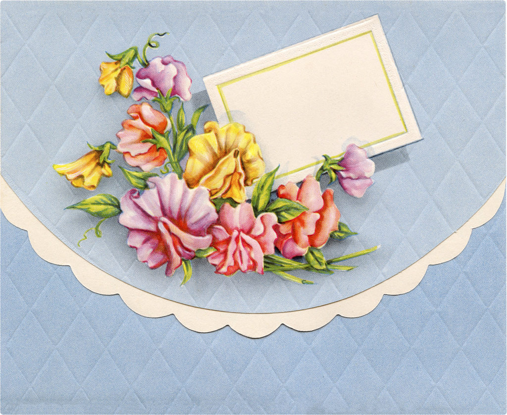 Beautiful Vintage Blue Quilted Envelope with Card Image!