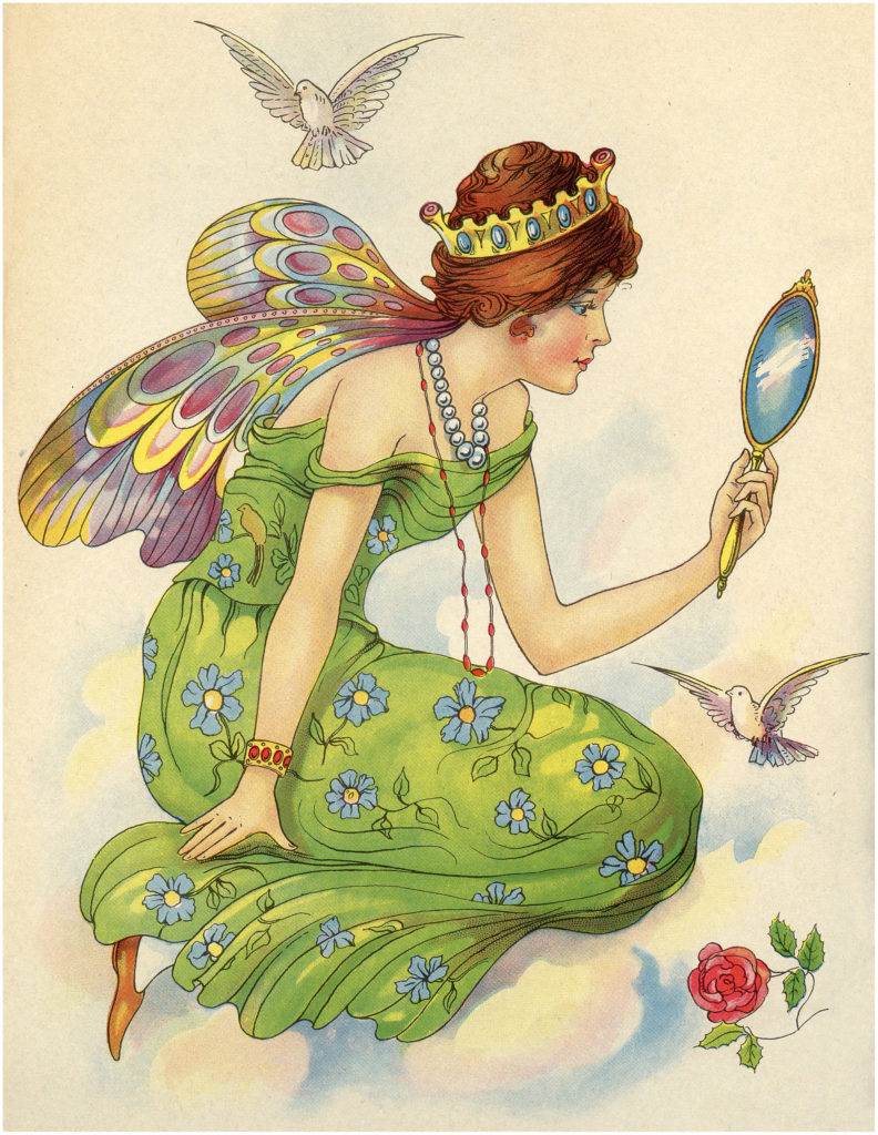 Exquisite Vintage Colorful Fairy with Rainbow Wings Image!