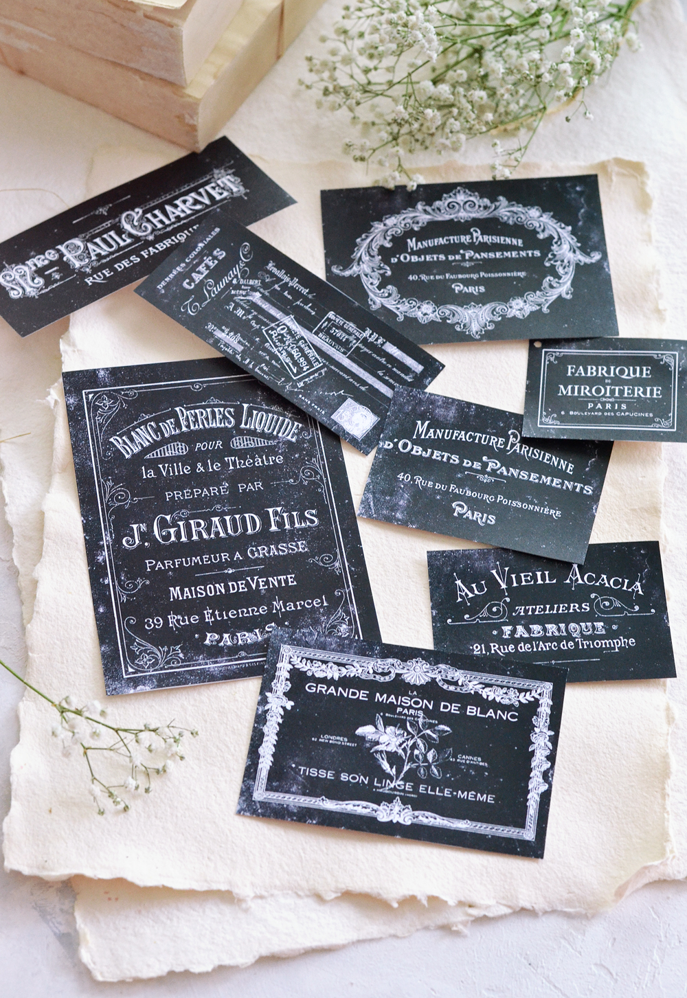 DIY French Faux Chalkboard Labels or Tags + free printable!