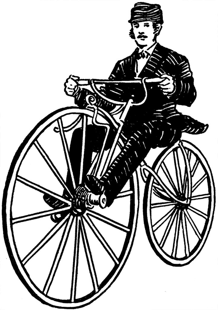 Velocipede Image Young Man Riding Old Bicycle Graphic