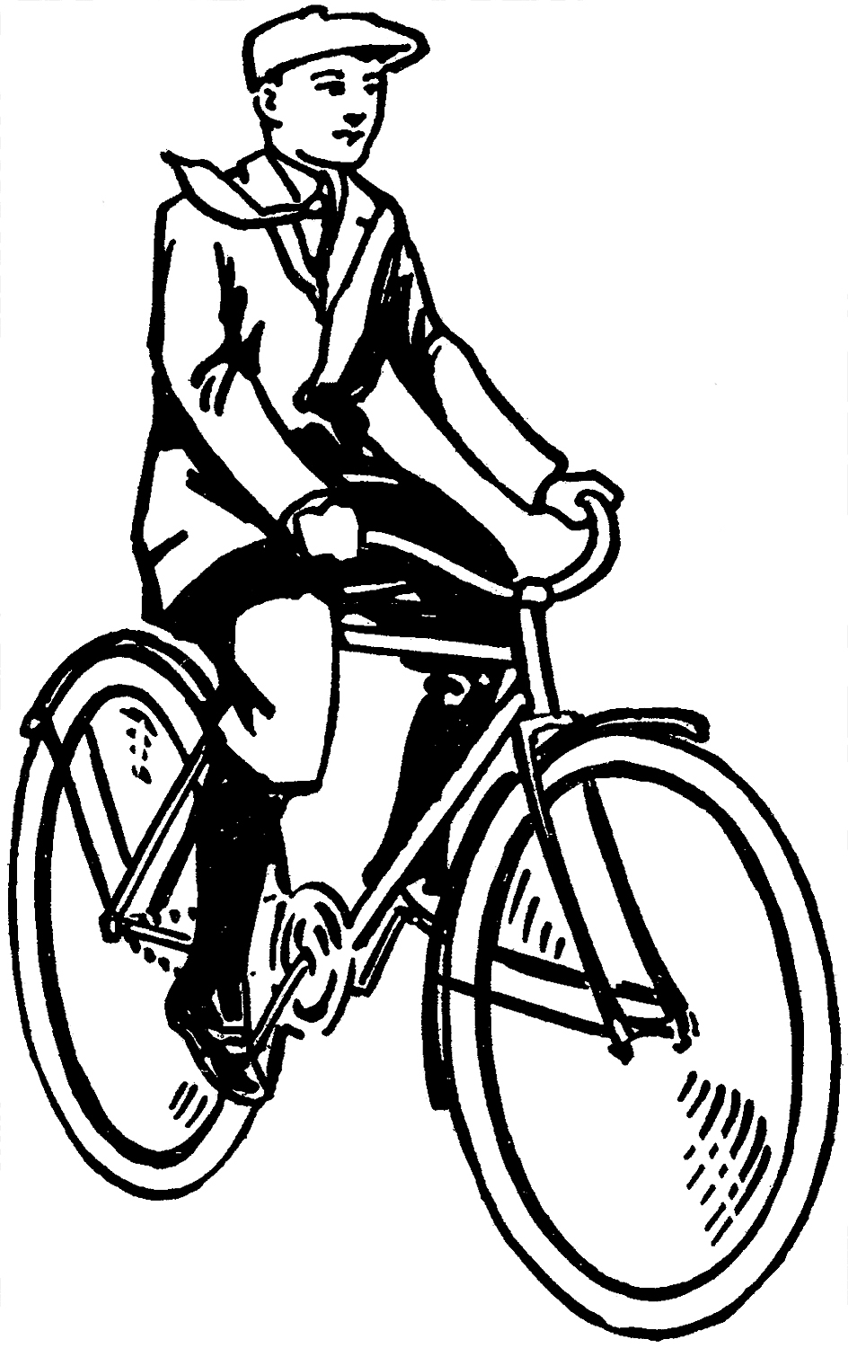 Charming Man Riding Bicycle Clip Art